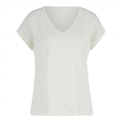 T-Shirt mit V-Ausschnitt ecru (106 scandinavian whi) | S
