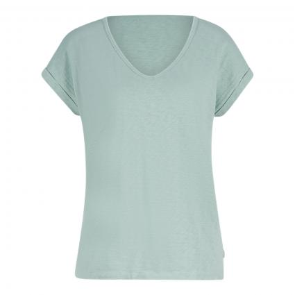 T-Shirt mit V-Ausschnitt grün (498 light carib)   L
