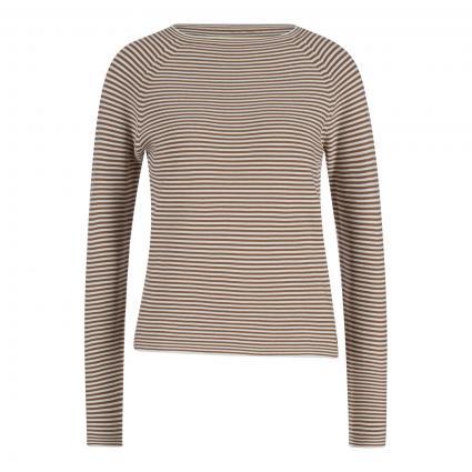 Pullover mit flachem Rundhalsausschnitt braun (U09 multi/milky coff) | S