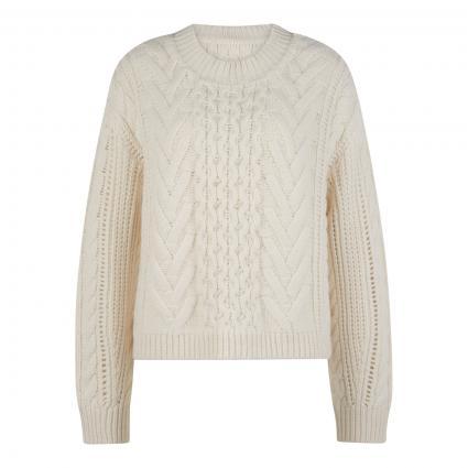 Pullover mit Zopfmuster beige (126 pistachio shell) | XS