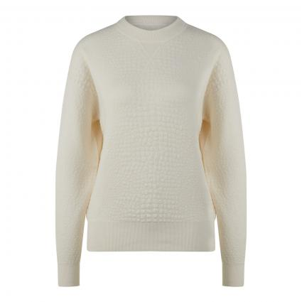 Pullover 'Fakenna' mit Strukturmuster weiss (118 Open White) | S