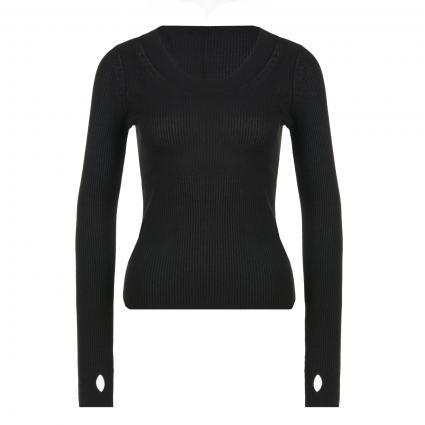 Langarmshirt mit Glitzer schwarz (001 Black)   XL