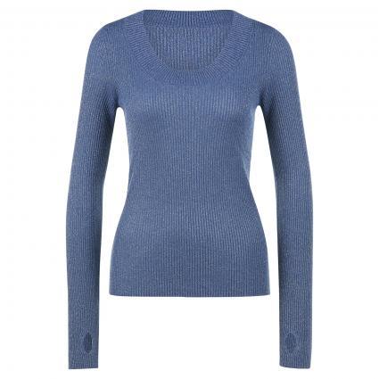 Langarmshirt mit Glitzer blau (439 Bright Blue) | S