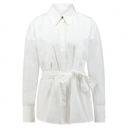Lange Hemdbluse 'Eilish' mit Bindegürtel weiss (100 White) | 42