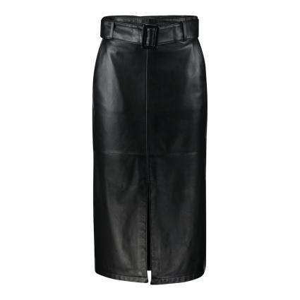 Lederrock 'Leshina' mit Gürtel schwarz (001 Black) | L
