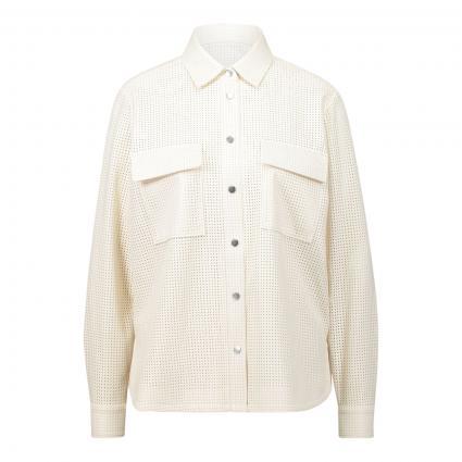 Bluse mit Lochmuster in Leder-Optik weiss (118 Open White)   36