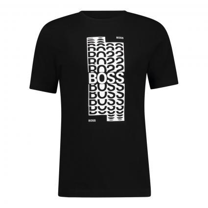 T-Shirt mit Logo-Print schwarz (001 Black) | L