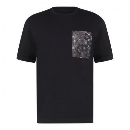 T-Shirt mit bedruckter Brusttasche schwarz (001 Black) | XL