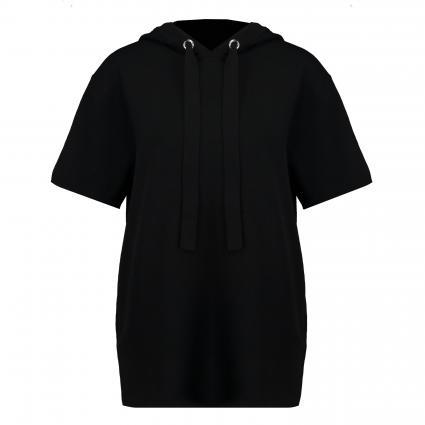 Kurzärmeliger Pullover 'Flara' mit Kapuze schwarz (001 Black)   M