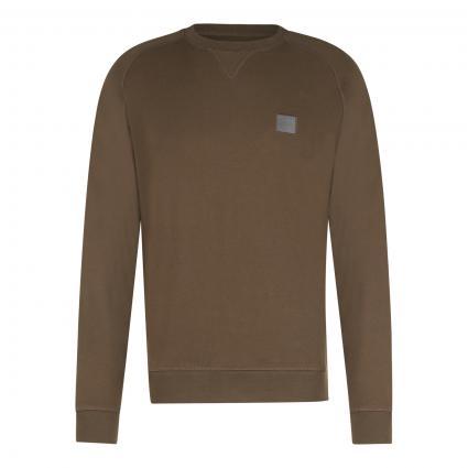 Sweatshirt 'Westart' mit Label-Patch grün (308 Dark Green) | XXL