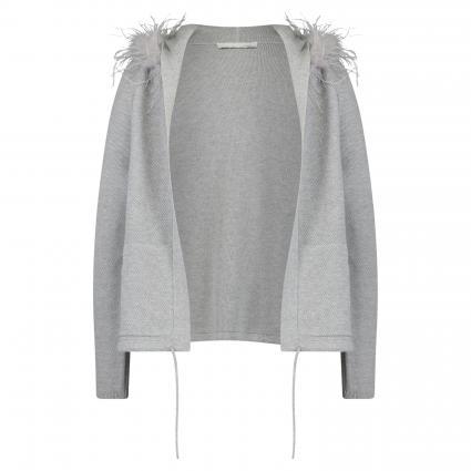 Strickjacke mit Kapuze und Federbesatz grau (9283 grey) | 36