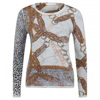 Pullover mit Ketten-Print silber (0907 lt grey camel)   40