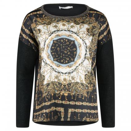 Langarmshirt aus Material-Mix schwarz (0997 black camel) | 42