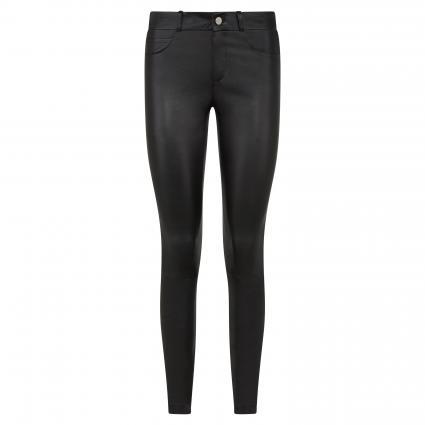 Schmale Hose aus Leder schwarz (9990 black) | 36