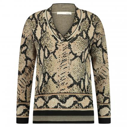 Pullover mit All-Over Muster beige (0717 lt stone camel) | 46