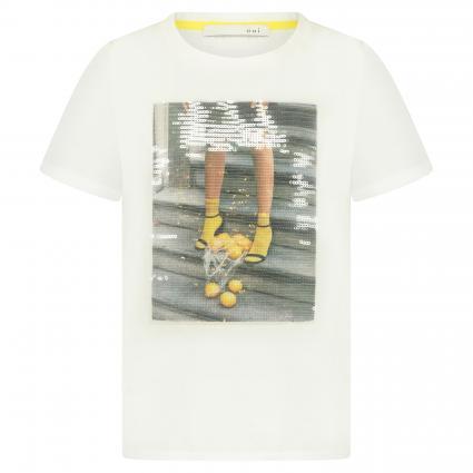 Print-Shirt mit Paillettenbesatz ecru (1006 cloud dancer) | 40