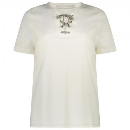 T-Shirt mit V-Ausschnitt und Glitzer-Details  ecru (1006 cloud dancer)   44