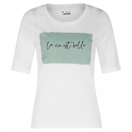 T-Shirt mit Print weiss (0106 white green)   38