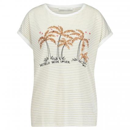T-Shirt mit Paillettenbesatz gold (0761 gold offwhite) | 38