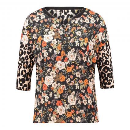 T-Shirt mit Blumen-Print schwarz (0997 black camel) | 36
