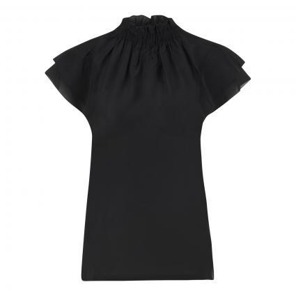 Blusentop mit Rüschenkragen schwarz (9990 black) | 42