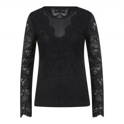 Langarmshirt aus Spitze schwarz (9990 black)   42