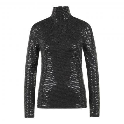 T-Shirt mit Paillettenbesatz silber (0969 silver black)   42