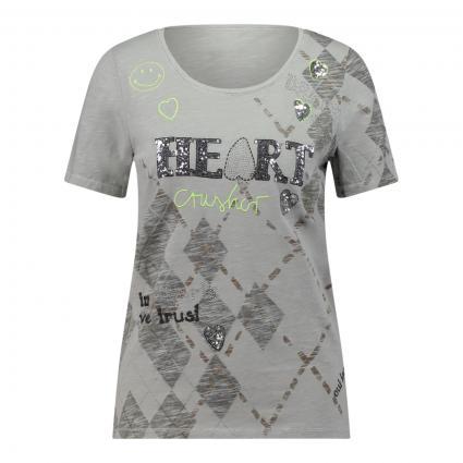 T-Shirt mit Zierelementen silber (0909 lt grey grey) | 36