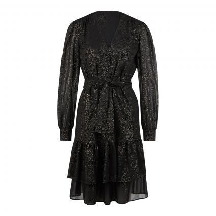 Kleid mit Falten und Volants und All-Over Glitzer Druck schwarz (0997 black camel) | 38