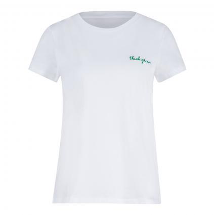 T-Shirt mit Wording weiss (1000 bright white) | 40