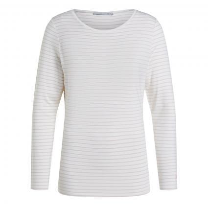 Langarmshirt mit Streifen weiss (0103 white red) | 36