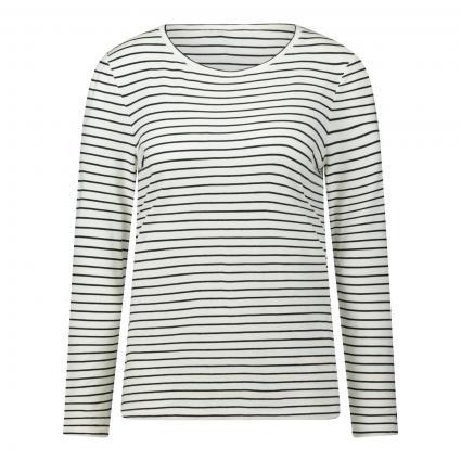 Langarmshirt mit Streifen weiss (0109 white black)   40