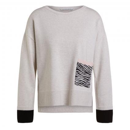 Pullover mit gemusterter Tasche weiss (0109 white black) | 44