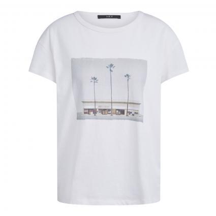 T-Shirt mit frontalem Print ecru (1070 woolwhite)   36