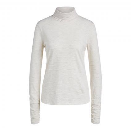 Langarmshirt mit Ringelmuster weiss (0107 white camel) | 42