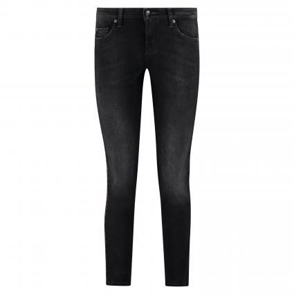 Slim-Fit Jeans 'Liu'mit Glitzer-Gallonstreifen schwarz (5181 black used 3D s) | 36 | 29