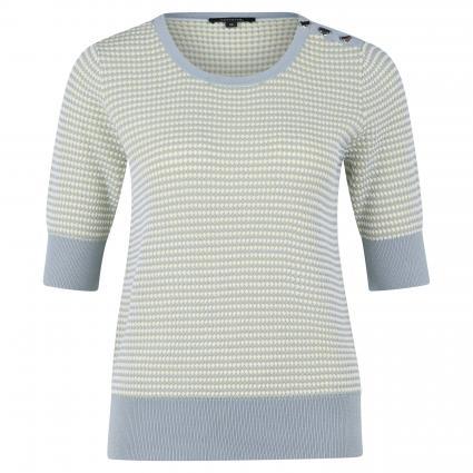 Femininer Kurzarm Pullover mit Nietenschmuck an Schulter blau (51X4 51X4 Bubble Kni)   38