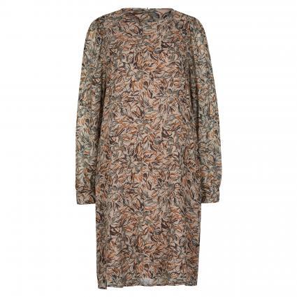 Kleid mit All-Over Muster beige (7572 braun) | 38