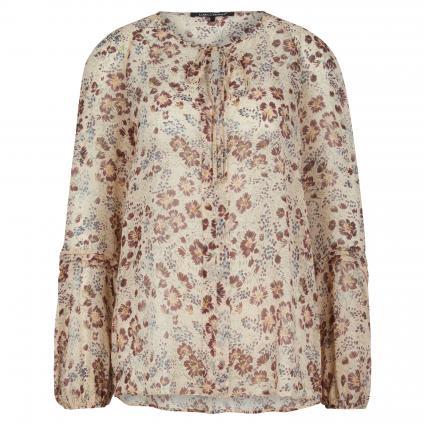 Bluse mit All-Over Muster beige (7017 braun) | 46