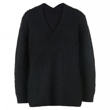 Pullover mit V-Ausschnitt schwarz (1 black) | 42