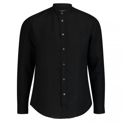Stehkragenhemd 'TAROK' aus Leinen schwarz (1000 schwarz) | XL