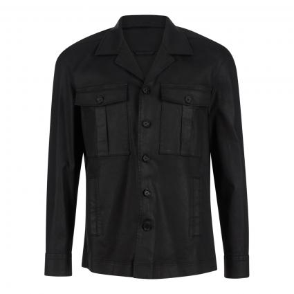 Overshirt 'Roonin' aus gecoateter Baumwolle schwarz (1000 schwarz) | L