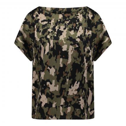 Boxy Blusenshirt 'Somia' mit Camouflage Druck oliv (2110 grün) | 42