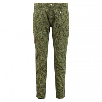 Hose 'Rich' mit All-Over Muster oliv (351B hunt green prin) | 44 | 28