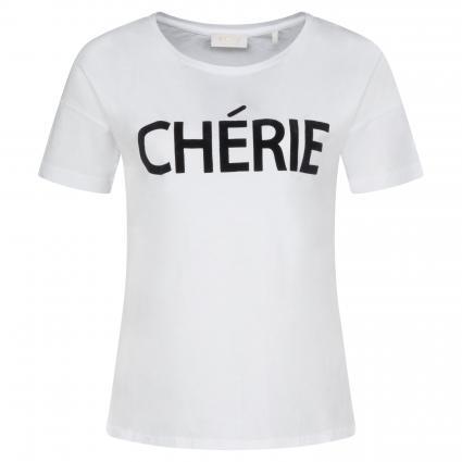T-Shirt mit Flock-Print weiss (100 white) | XL