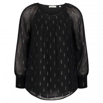 Bluse mit Feder-Musterung schwarz (890 black) | 38