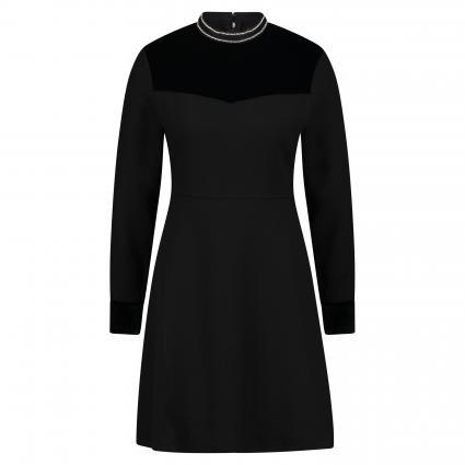 Kleid mit Glitzer-Kragen schwarz (890 black) | 40