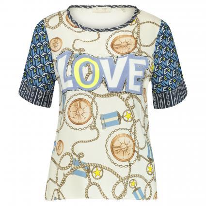T-Shirt mit Musterung weiss (100 white) | XS