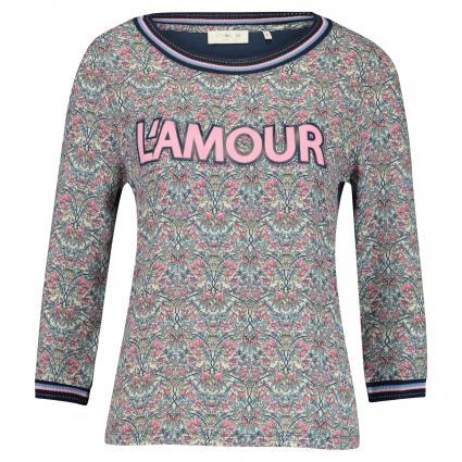 Langarmshirt mit Flock-Print und Rippbündchen pink (527 spring pink) | L