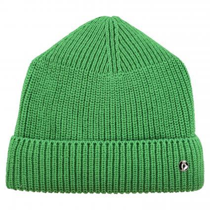 Strickmütze mit Logo-Button grün (661 bright green) | 0